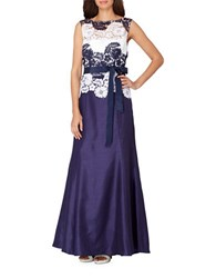 Tahari By Arthur S. Levine Floral Embroidered Ankle Length Dress Navy White