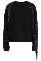 Maje Velvet Trimmed Lace Up Jersey Sweatshirt Black