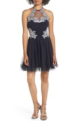Blondie Nites Applique Bodice Fit And Flare Halter Dress Navy Navy Silver