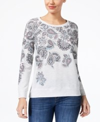 Style And Co Petite Paisley Print Sweatshirt Created For Macy's Moving Paisleys