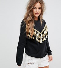 Glamorous Petite Relaxed Sweatshirt With Chevron Tassel Trim Black