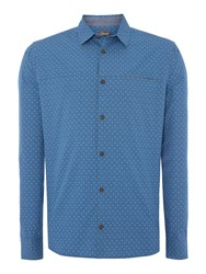 Linea Bond Spot Print Long Sleeve Shirt Blue