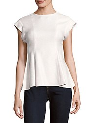 Victoria Beckham Sort Sleeve Flared Sable Wool Top White