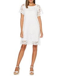 Rafaella Petite Lace Off The Shoulder Bell Sleeve Dress White