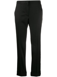 Pt01 Cropped Slim Fit Trousers Black