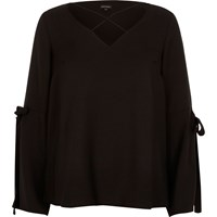 River Island Womens Black Cross Front Split Sleeve Blouse