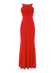 Js Collections Crystal Neck Halter Dress Red