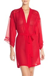 In Bloom By Jonquil Polka Dot Chiffon Robe Red