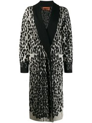 Missoni Leopard Print Knitted Coat Black