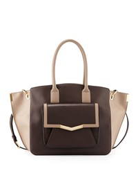Time's Arrow Jo Large Leather Tote Bag Cacao Oyster
