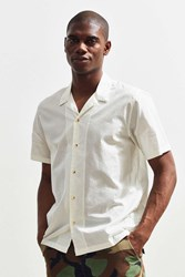 Urban Outfitters Uo Camp Collar Short Sleeve Button Down Shirt White