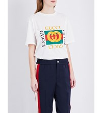 Gucci Embroidered Logo Cotton Jersey T Shirt Natural White Prt Multi