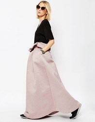 Asos White Textured Bonded Full Skirt With Frill Detail Light Pink