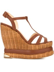 Paloma Barcelo 'Valerie' Wedge Sandals Brown