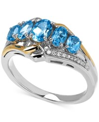 Macy's Blue Topaz 1 1 2 Ct. T.W. And Diamond Accent Ring In 14K Gold And Sterling Silver
