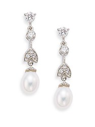 Saks Fifth Avenue 10Mm Round Freshwater Pearl Linear Drop Earrings Rhodium