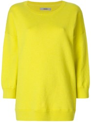Humanoid Round Neck Sweatshirt Cotton Spandex Elastane Yellow Orange