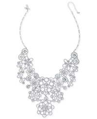Kate Spade New York Silver Tone Lacy Crystal Bib Necklace