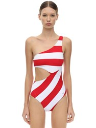 Tommy Hilfiger One Shoulder Cutout One Piece Swimsuit Red White