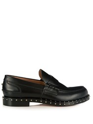 Valentino Soul Rockstud Embellished Leather Loafers Black