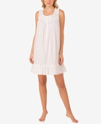 Eileen West Ruffle Trimmed Cotton Nightgown White Floral