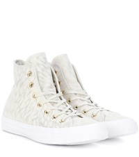 Converse All Star Printed Suede Sneakers Beige