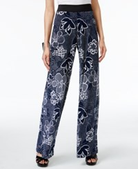Alfani Floral Print Palazzo Pants Only At Macy's Dotted Floral Navy White