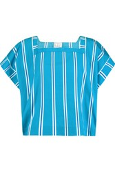 Stella Jean Striped Cotton Toile Top Azure