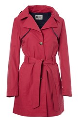 Covert Overt Cotton Hooded Belted Jacket Red