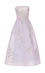 Monique Lhuillier Floral Embroidered Strapless Gown Purple