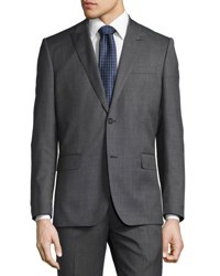 Neiman Marcus Sharkskin Modern Fit Two Piece Wool Suit Charcoal