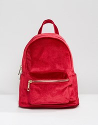 Qupid Mini Velvet Backpack Red Velvet