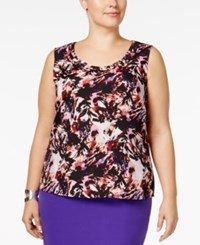 Kasper Plus Size Printed Shell Regal Purple