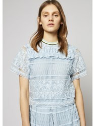 House Of Holland Heart Lace Top Blue