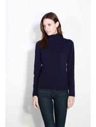 Johnstons Of Elgin Cashmere Roll Collar Sweater Blue
