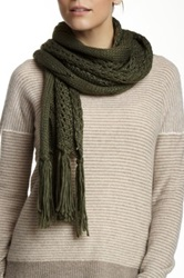 Nine West Cable Knit Open Weave Scarf Green
