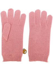 Moschino Bear Engraved Gloves Pink Purple