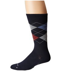 Feetures Argyle Ultra Light Crew Sock Navy Crew Cut Socks Shoes