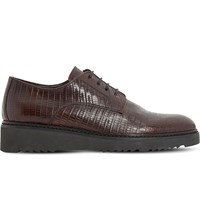 Dune Freed Leather Derby Flatform Shoes Burgundy Reptile