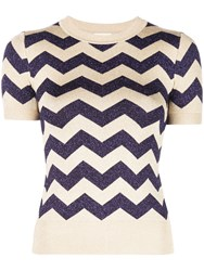 Joostricot Short Sleeve Zig Zag Knitted Top Gold