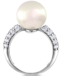 Majorica Sterling Silver Cubic Zirconia And Imitation Pearl Ring
