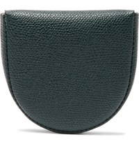Valextra Tallone Pebble Grain Leather Coin Wallet Green