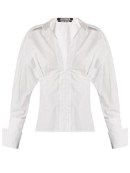 Jacquemus Corset Detail Pinstriped Cotton Shirt White Black
