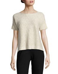 Eileen Fisher Petite Ribbed Linen Cotton Top Undyed Natural