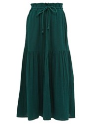 Apiece Apart Gailicia Shirred Waist Cotton Muslin Midi Skirt Dark Green