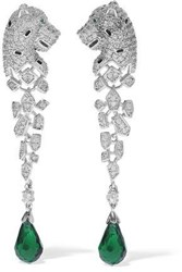 Cz By Kenneth Jay Lane Silver Tone Crystal And Bead Earrings Silver