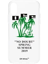 Off White Transparent Palm Print And Logo Iphone X Case Neutrals