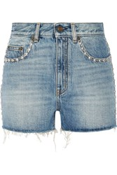 Saint Laurent Studded High Rise Denim Shorts Light Blue