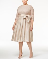 Jessica Howard Plus Size Pleated Fit And Flare Dress Beige