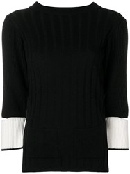 Eudon Choi Cut Out Sleeve Knitted Sweater Black